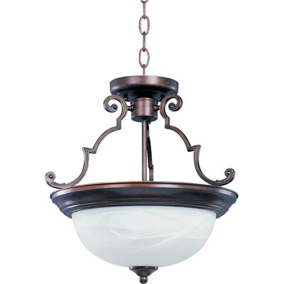Tennant 2-Light Semi-Flush Mount Finish: Oil Rubbed Bronze, Glass: Marble