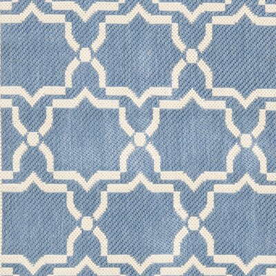Short Blue/Beige Intricate Outdoor Area Rug Rug Size: Rectangle 27 x 5