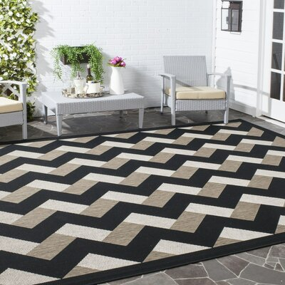 Holloway Black/Brown Indoor/Outdoor Area Rug Rug Size: 53 x 77