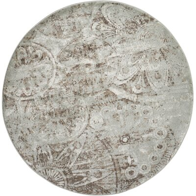 Armand Gray/Light Brown Area Rug Rug Size: Round 53