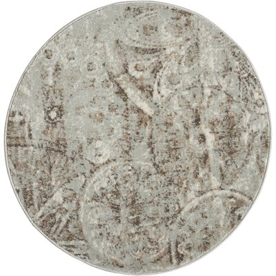 Armand Gray/Light Brown Area Rug Rug Size: Round 34