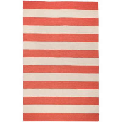 Haggerty Red/Ivory Striped Area Rug Rug Size: 9 x 13