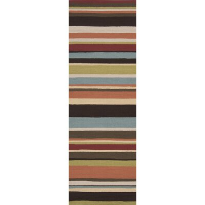 Cynthia Parchment/Khaki Stripe Indoor/Outdoor Rug Rug Size: Rectangle 8 x 10