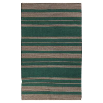 Kramer Emerald Green & Silver Cloud Striped Area Rug Rug Size: 5 x 8
