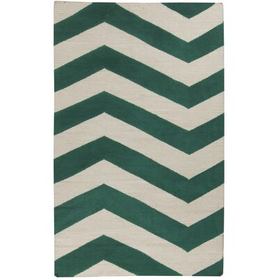 Dickerson Juniper & Antique White Zig Zag Area Rug Rug Size: Runner 26 x 8