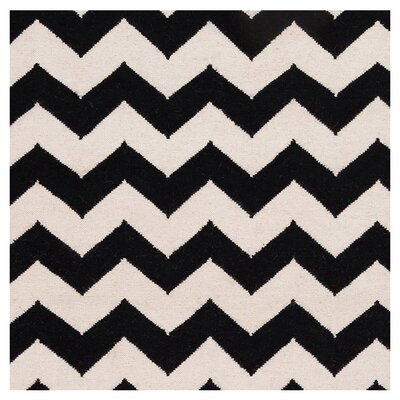 Ketner Jet Black/Winter White Chevron Area Rug Rug Size: 8' x 11'