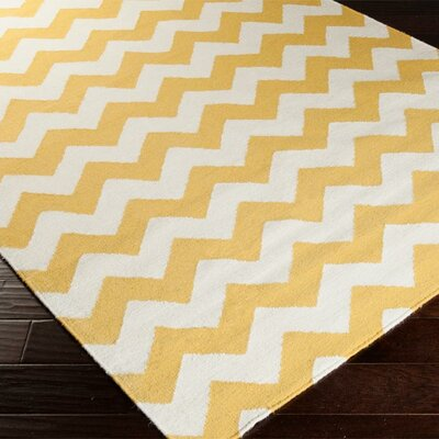 Ketner Golden Yellow/Winter White Chevron Area Rug Rug Size: 9 x 13