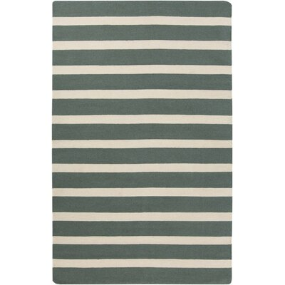 Kramer Ivory/Deep Sea Green Striped Area Rug Rug Size: 2 x 3