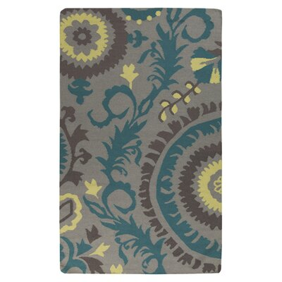 Troy Hand-Woven Gray/Blue Area Rug Rug Size: 5' x 8'