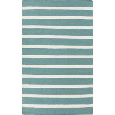 Haggerty Ivory/Teal Green Striped Area Rug