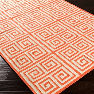 Lowery Poppy Red/Ivory Geometric Area Rug Rug Size: Runner 26 x 8