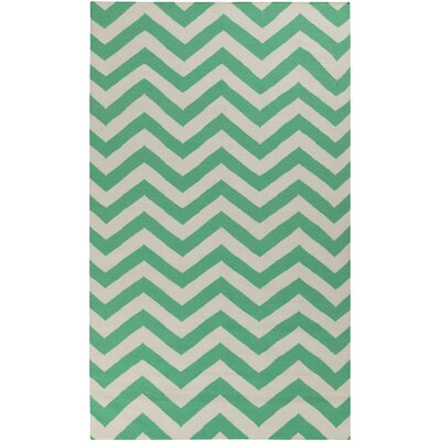 Haggerty Winter White/Jade Chevron Area Rug