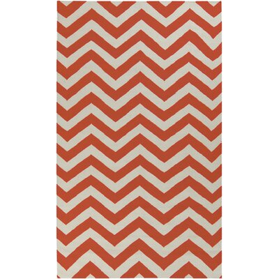 Dickerson Rust Red/Papyrus Chevron Area Rug Rug Size: 2 x 3