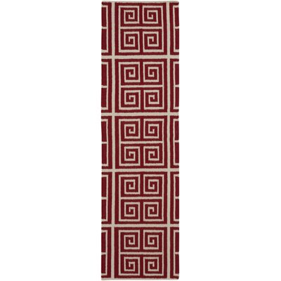 Haggerty Red/Winter White Geometric Area Rug Rug Size: Runner 26 x 8