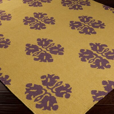 Kramer Olive/Yellow Area Rug Rug Size: Rectangle 36 x 56