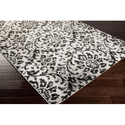 Anastasia Charcoal Damask Area Rug Rug Size: Rectangle 52 x 76