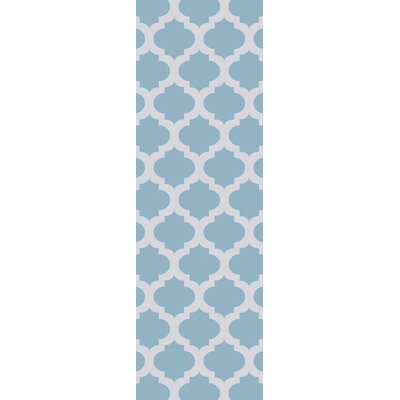 Derby Sky Blue/Ivory Indoor/Outdoor Area Rug Rug Size: Runner 26 x 8