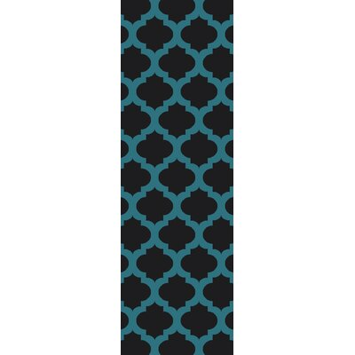 Derby Black/Aqua Indoor/Outdoor Area Rug Rug Size: 36 x 56