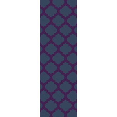 Derby Navy/Violet Indoor/Outdoor Area Rug Rug Size: 36 x 56