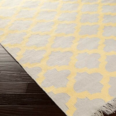 Derby Yellow/Ivory Indoor/Outdoor Area Rug Rug Size: 36 x 56