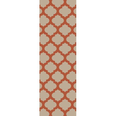 Derby Rust/Beige Indoor/Outdoor Area Rug Rug Size: Runner 26 x 8