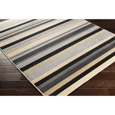 Wainfleet Gray/Black Area Rug Rug Size: Rectangle 53 x 76