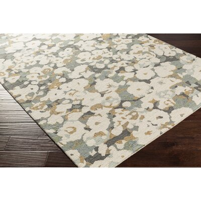 Amanda Hand-Tufted Neutral/Blue Area Rug Rug Size: Rectangle 5 x 76
