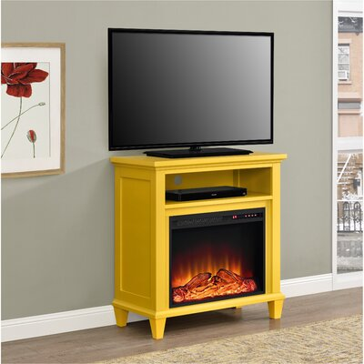 Rosendale TV Stand with Electric Fireplace Color: Yellow