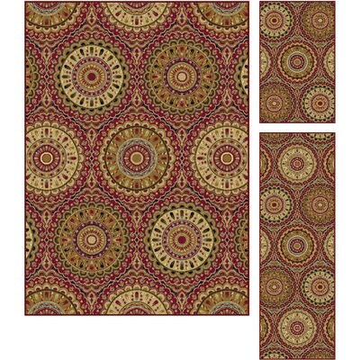 Wolcott 3 Piece Red Area Rug Set