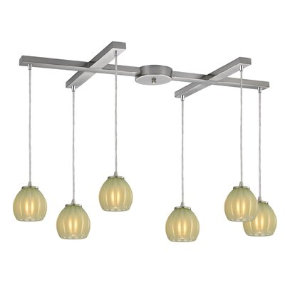 Cantrell 6-Light Glass Jade Kitchen Island Pendant