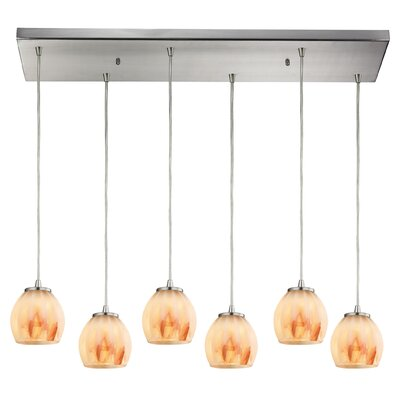 Cantrell 6-Light Glass Frosted Kitchen Island Pendant