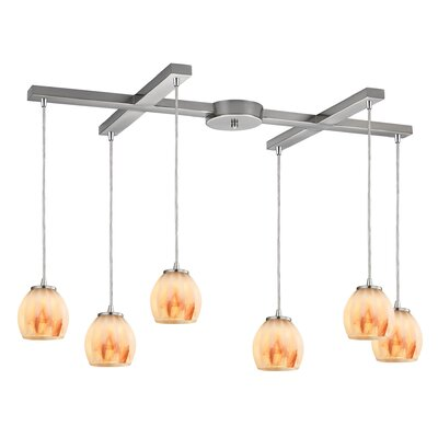 Cantrell 6-Light Satin/Nickel Frosted Kitchen Island Pendant