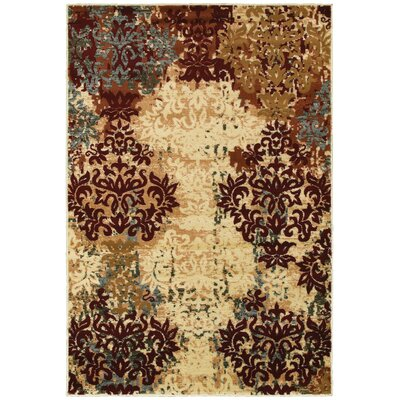 Grace Ivory/Red Area Rug Rug Size: 36 x 56