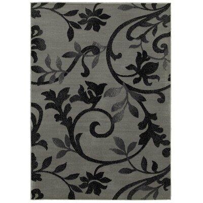 Myra Gray/Black Area Rug Rug Size: 79 x 95