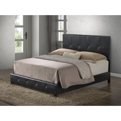 Newbury Upholstered Panel Bed Size: Twin, Color: Black