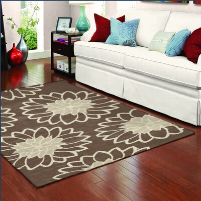 Westwood Chrysanthemum Chocolate/Cream Area Rug Rug Size: Rectangle 22 x 5
