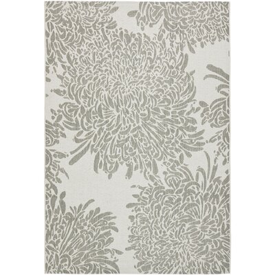 Chrysanthemum Gray Area Rug Rug Size: Rectangle 53 x 77