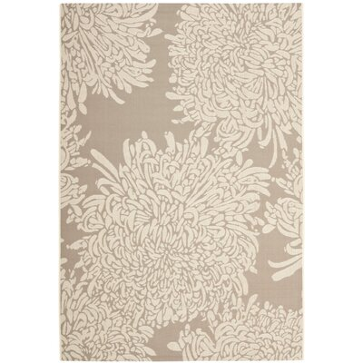Chrysanthemum Beige/Brown Outdoor Area Rug Rug Size: 53 x 77