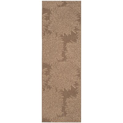 Chrysanthemum Brown Outdoor Area Rug Rug Size: Runner 27 x 82