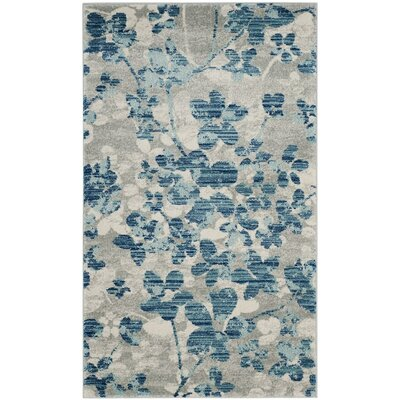 Ora Gray/Light Blue Area Rug Rug Size: Square 67