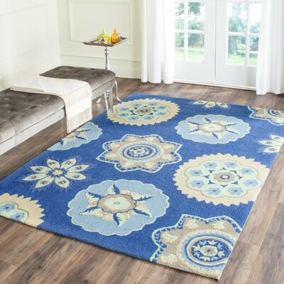 Burnes Hand-Hooked Navy Indoor/Outdoor Area Rug Rug Size: 8 x 10
