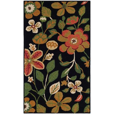 Doyle Hand-Hooked Black Indoor/Outdoor Area Rug Rug Size: 5 x 7