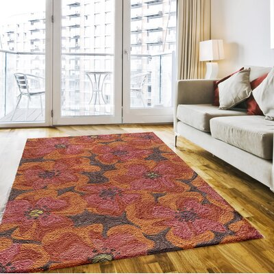 Unionville Hand-Woven Raspberry Area Rug Rug Size: Rectangle 36 x 56