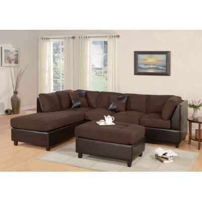 Corporate Reversible Sectional with Ottoman Upholstery: Chocolate