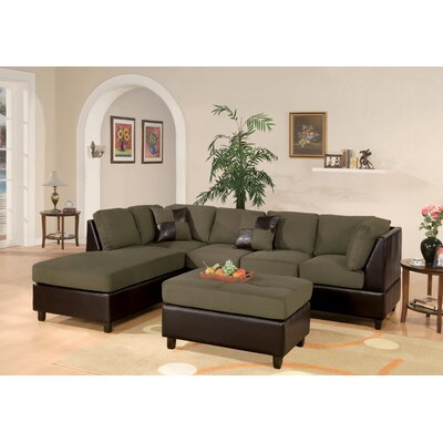 Corporate Reversible Sectional with Ottoman Upholstery: Sage