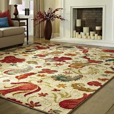 Virginia Beige/Red Area Rug Rug Size: Runner 2 x 8