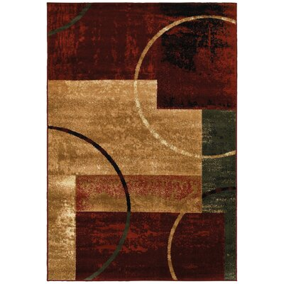 Eileen Red and Gold Area Rug Rug Size: 57 x 79