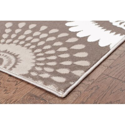 Strickland Floral Light Beige Area Rug Rug Size: 53 x 75