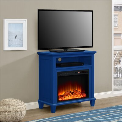 Rosendale TV Stand with Electric Fireplace Color: Navy