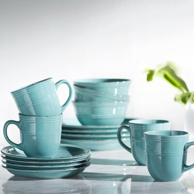Annabelle 16 Piece Dinnerware Set Color: Aqua Blue